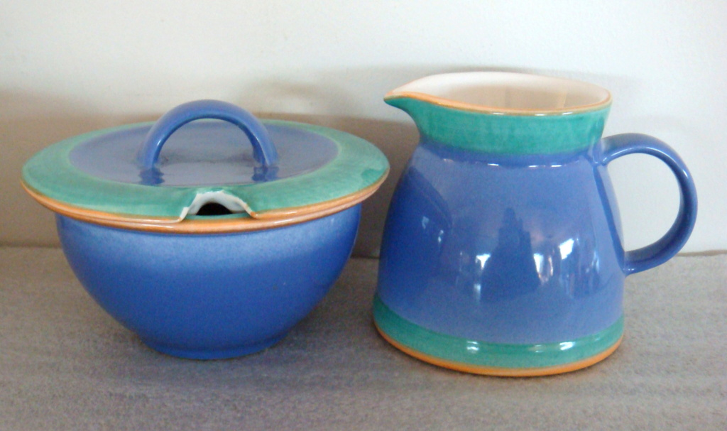 Temuka Milk Jug and Lidded Sugar Bowl in green and blue with orange edging Dsc08910