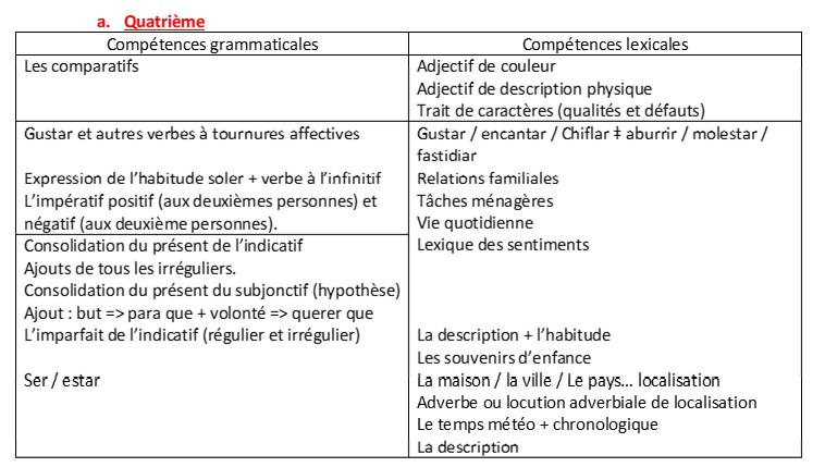 [Espagnol collège] progression grammaticale Progre11