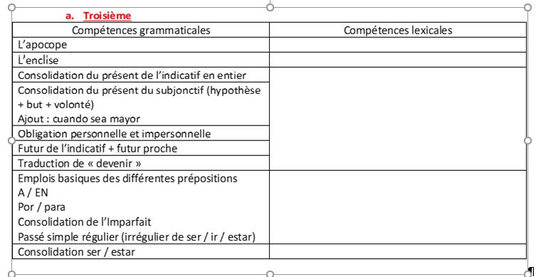 [Espagnol collège] progression grammaticale Progre13