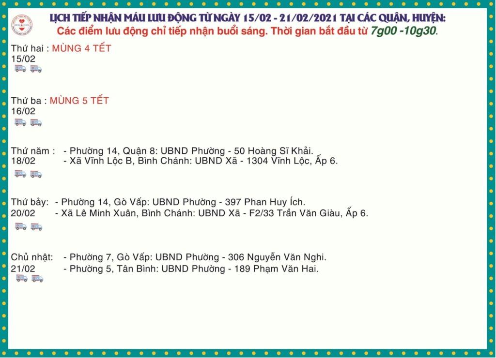Lịch Hiến Máu từ ngày 18 đến 22 / 2 / 2021 Lich10