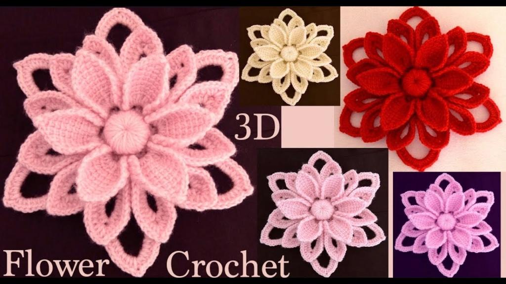 flores 3D tejidas a Crochet Irlandés  Maxres19