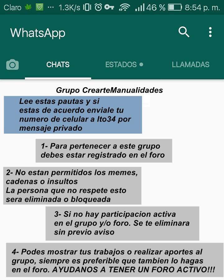 Grupo de Whatsapp de CrearteManualidades Pautas11