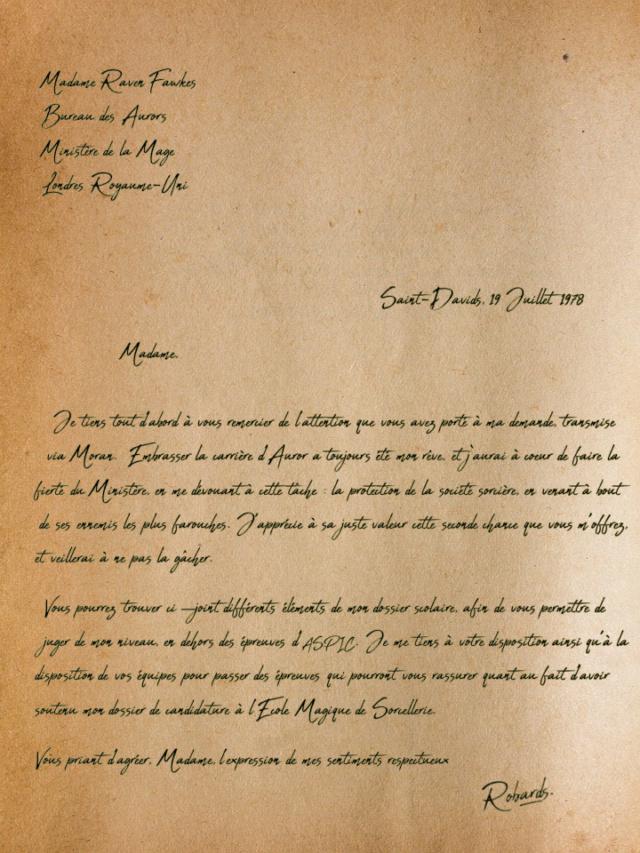 Archives du Ministère de la Magie - Annexe au dossier n°27R491 - ROBARDS, Gauwain Lettre12