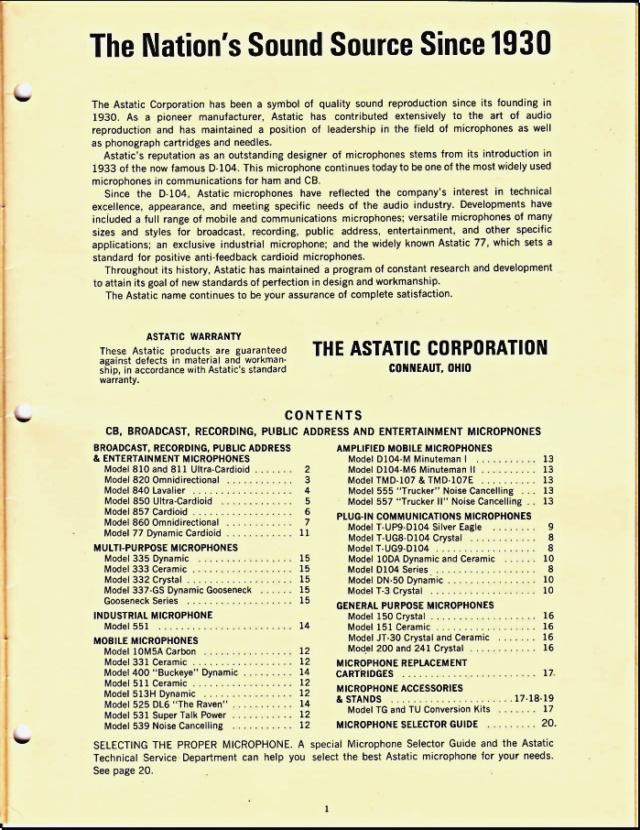 Astatic Microphones (Catalogue) 0175