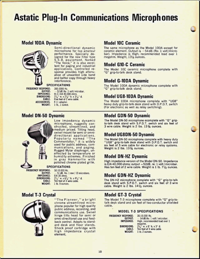 Astatic Microphones (Catalogue) 1020