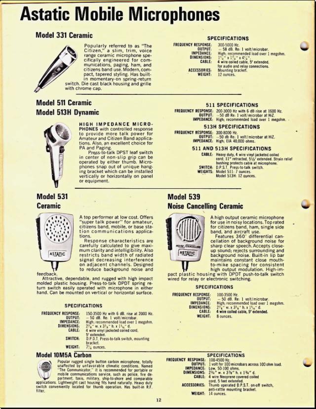 Astatic Microphones (Catalogue) 1218