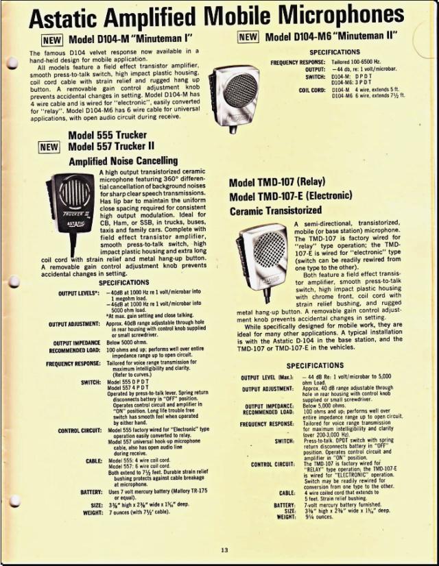 Astatic Microphones (Catalogue) 1317