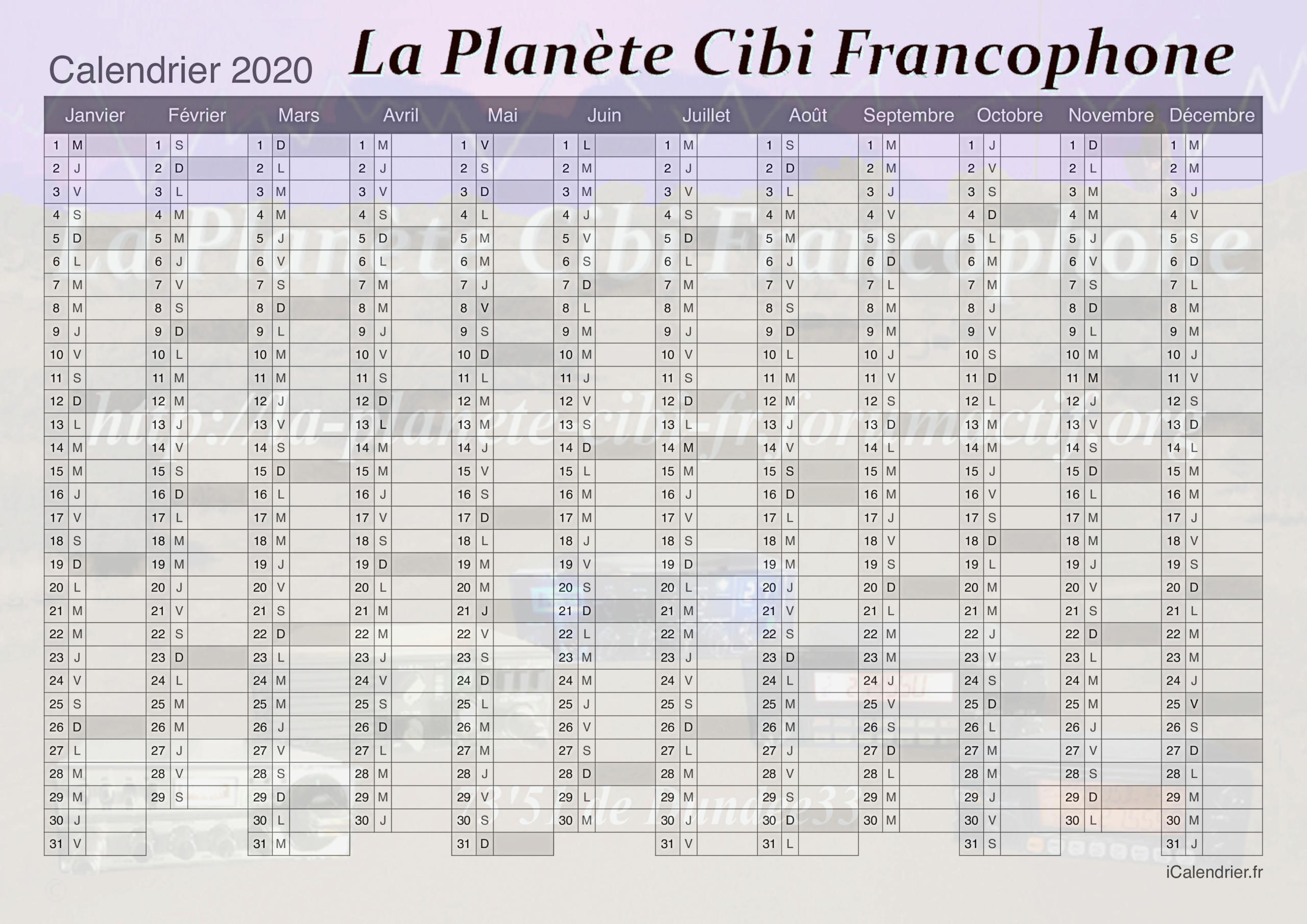 2020 - Calendrier 2020 La Planète Cibi Francophone Calend12