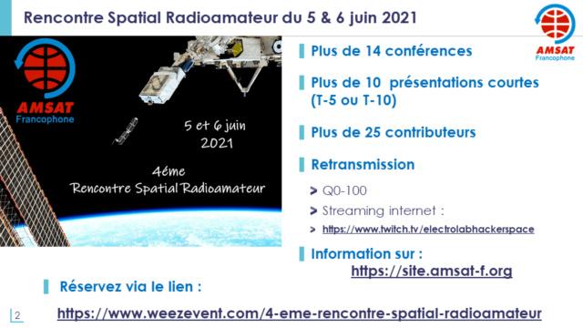 Conférences ARISS le 5 juin lors de la 4 éme Rencontre Spatial Radioamateur (05 & 06/06/2021) Diapos10