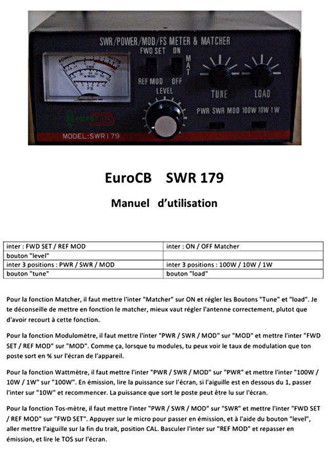EuroCB - EuroCB SWR 179 (Tosmètre Matcher (Vintage) Euro-c10
