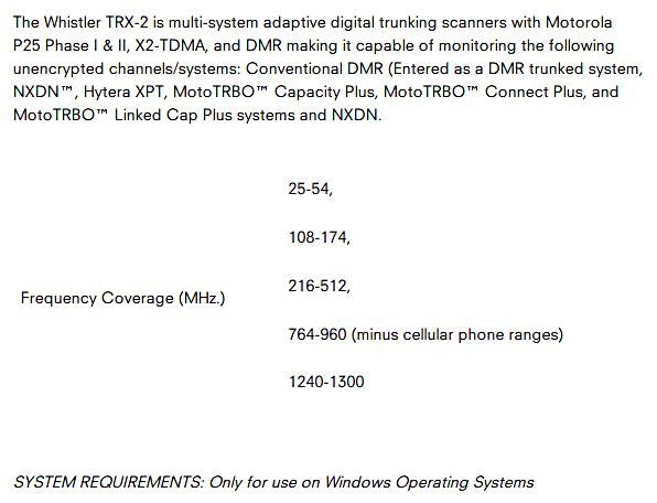 Whistler TRX-2 (scanner (Mobile) Whistl22