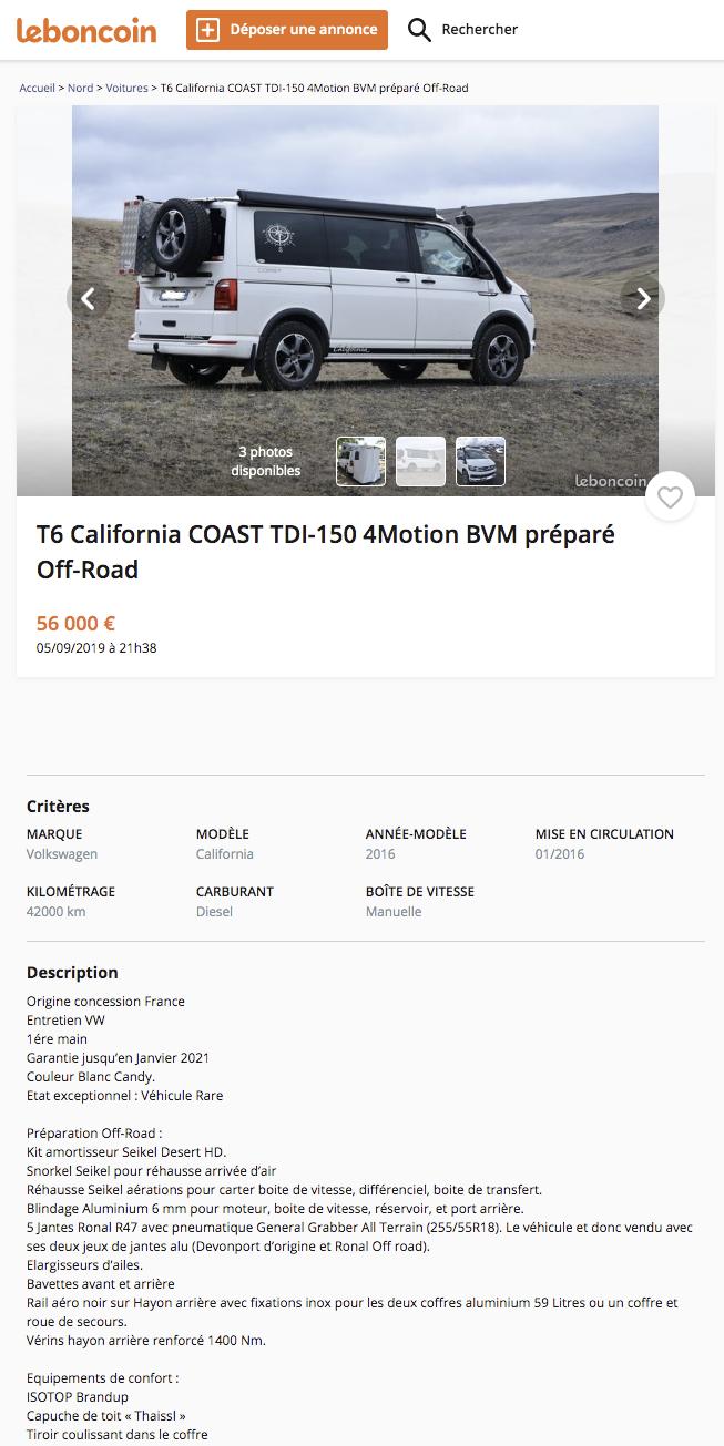 VENDU - Vend T6 California COAST TDI 150 4motion BVM préparé Off Road T5z_ch11