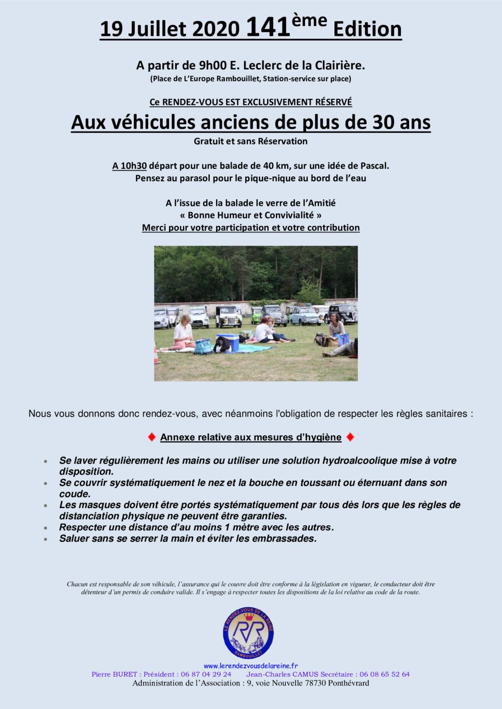 141e Rendez-Vous de la Reine - Rambouillet,19 juillet 2020 Annonc10
