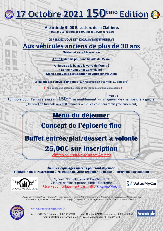 150ème Rendez-Vous de la Reine - Rambouillet, le 17 octobre 2021 Annonc17