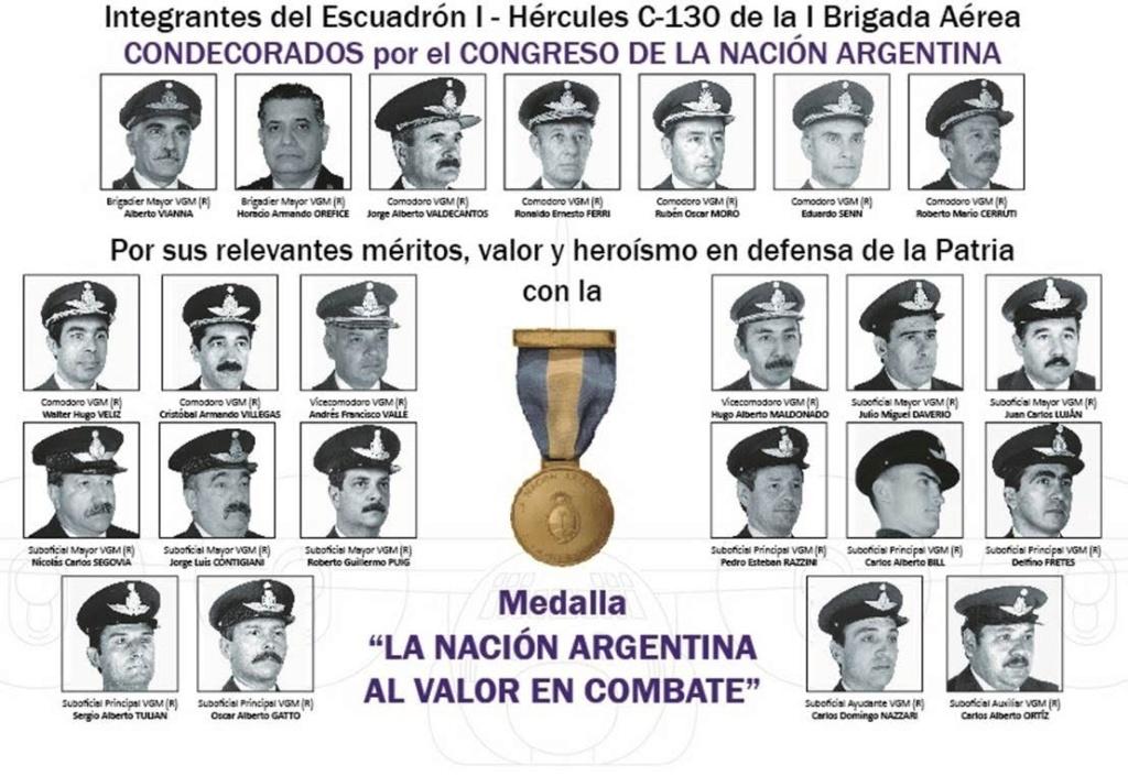 Luego de 37 años condecoran a pilotos de Hercules que cumplieron misiones Secretas en Malvinas Mvccon10