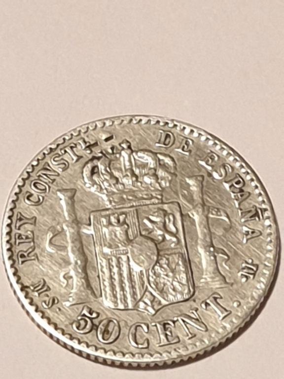 Contramarca o símbolo de coleccionista en 5 pesetas de Alfonso XII 20210111