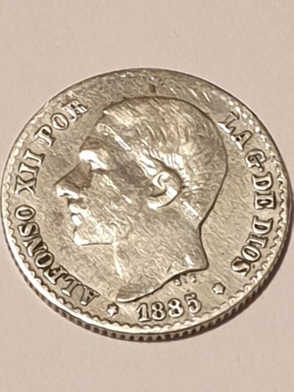 Contramarca o símbolo de coleccionista en 5 pesetas de Alfonso XII 20210113