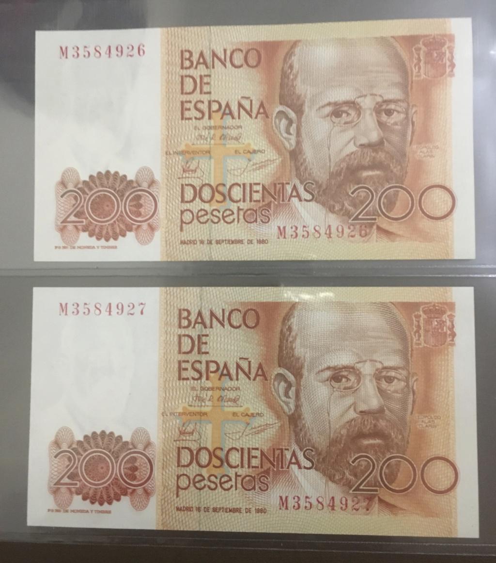 Número más bajo/alto de... 200 pesetas 1980 Serie 8 y 9 B99dcb10