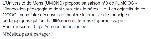 UMOOC- Innovation pédagogique  Inscri10