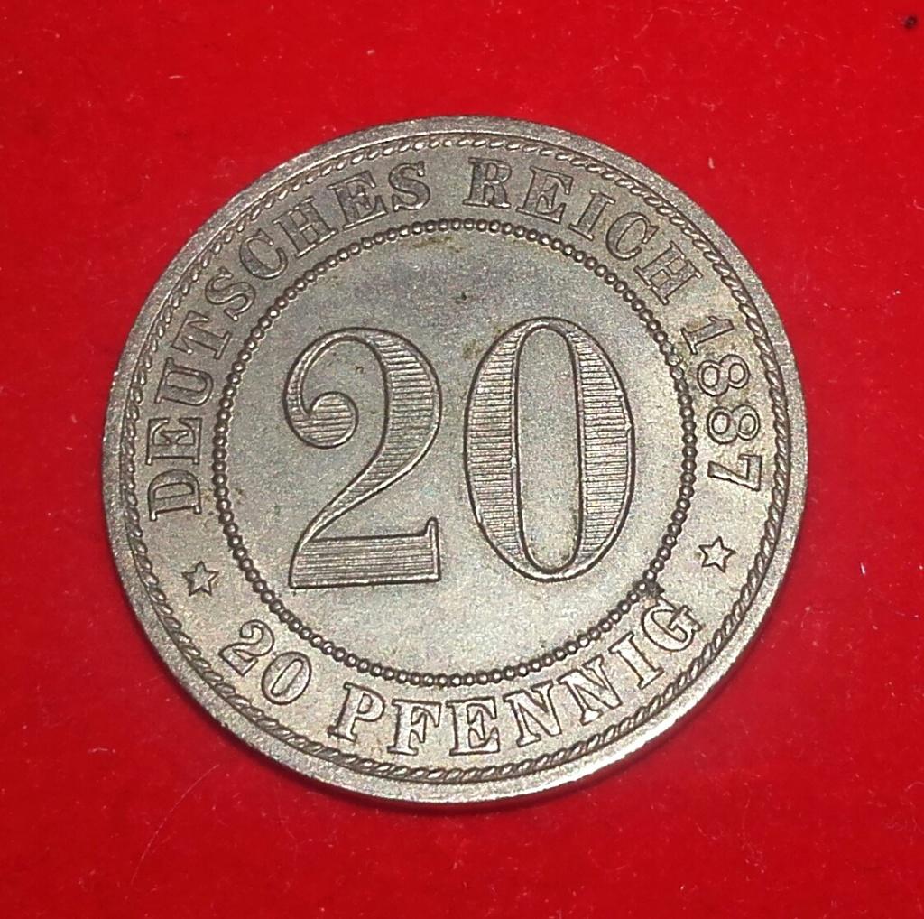 20 Pfennig 1887 A. Imperio Alemán. ...Sin comentarios.... 20181247