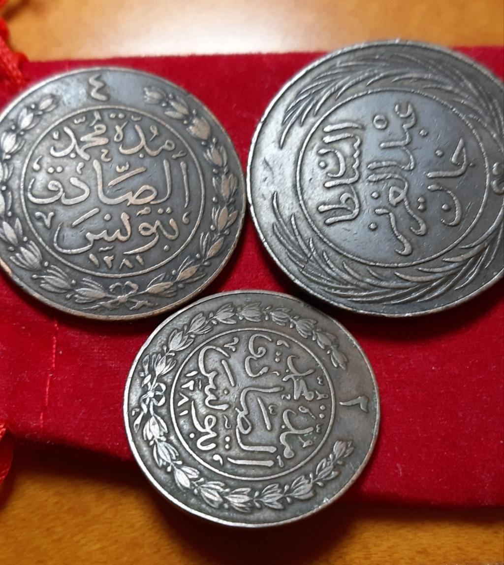 2 , 4 y 8 KHARUB Tunez 1865 - SET DE MONEDAS DE COBRE- 20190828