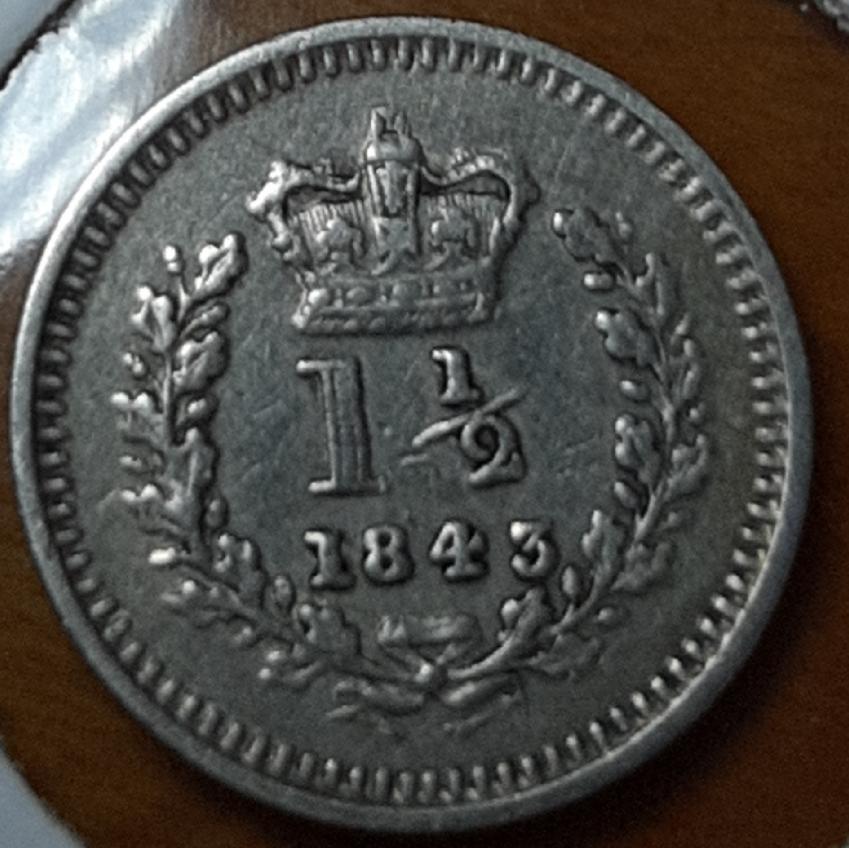 1848 three-halfpence Victoria  (para uso en las colonias británicas) 20190948