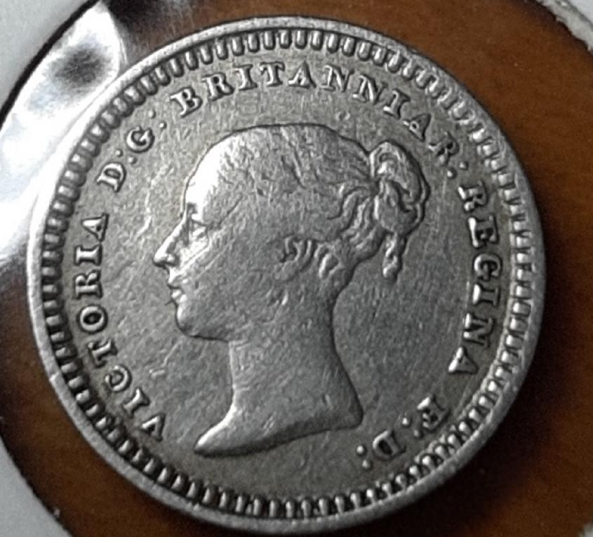 1848 three-halfpence Victoria  (para uso en las colonias británicas) 20190949