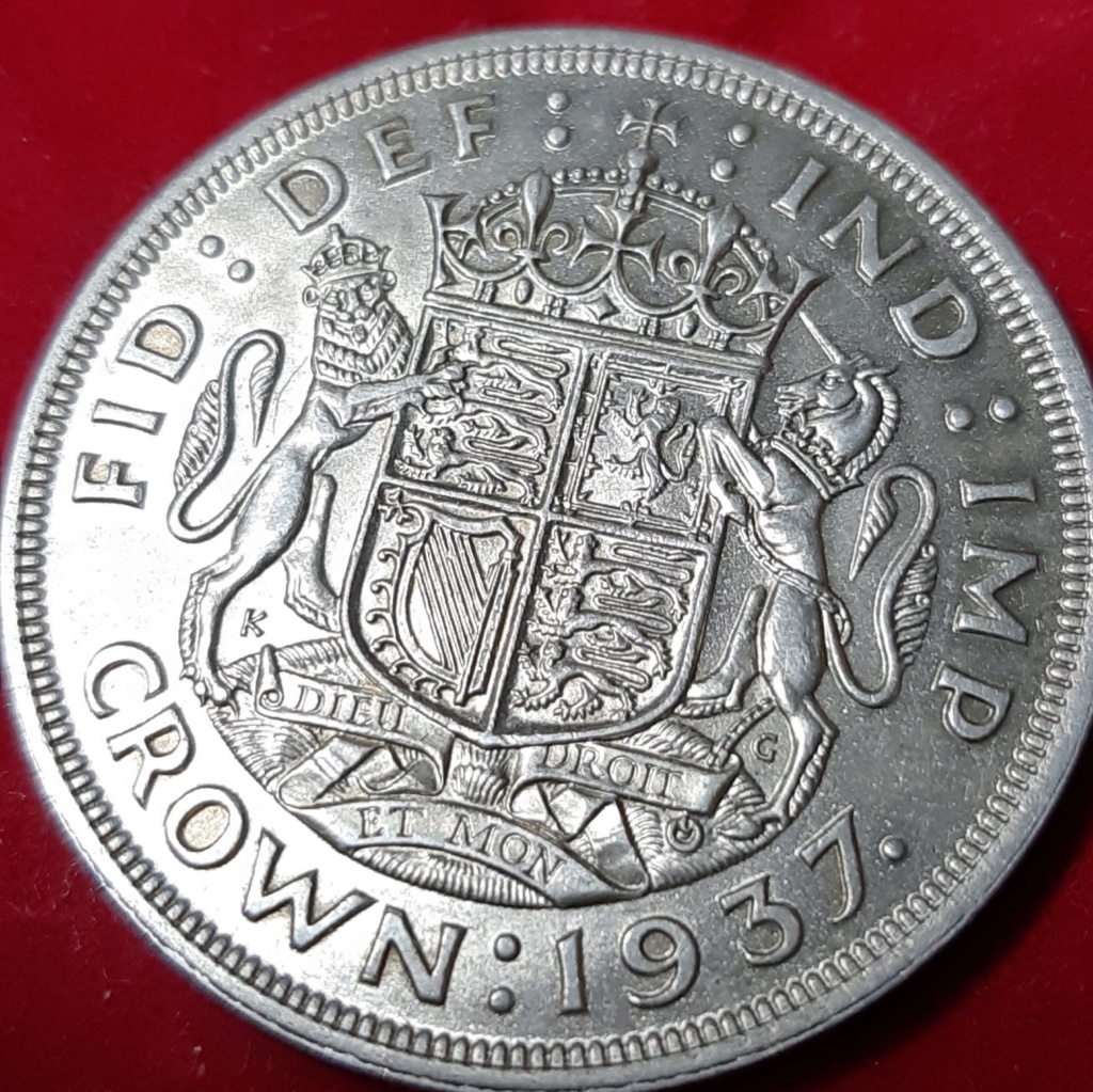 1 CROWN 1937 - GEORGE VI - PLATA .500- MONEDÓN. 20190962