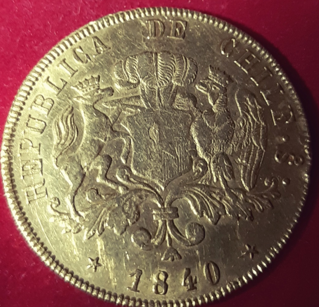 8 ESCUDOS REPÚBLICA DE CHILE 1840 - ORO- RARA-  20191012