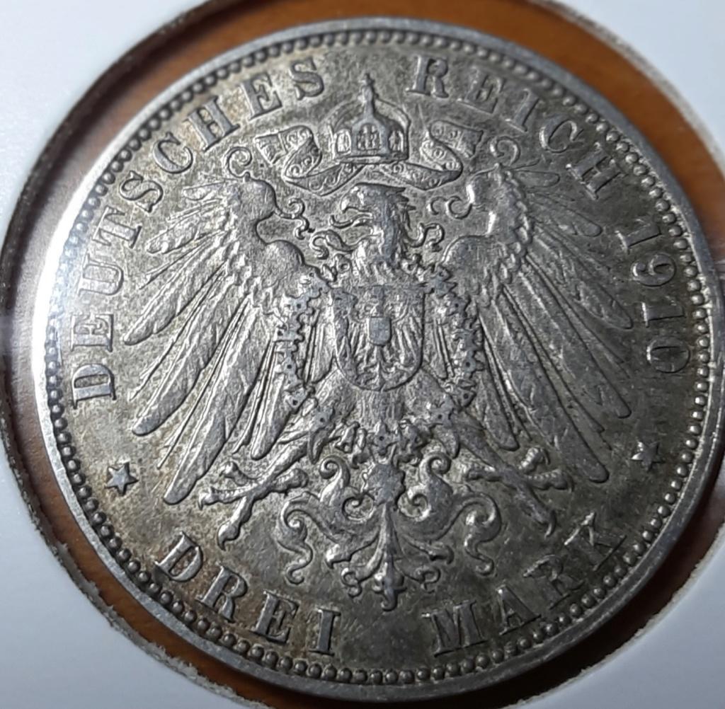 Preciosa moneda - 3 MARK HAMBURGO 1910 J - ESTADOS ALEMANES 20191014