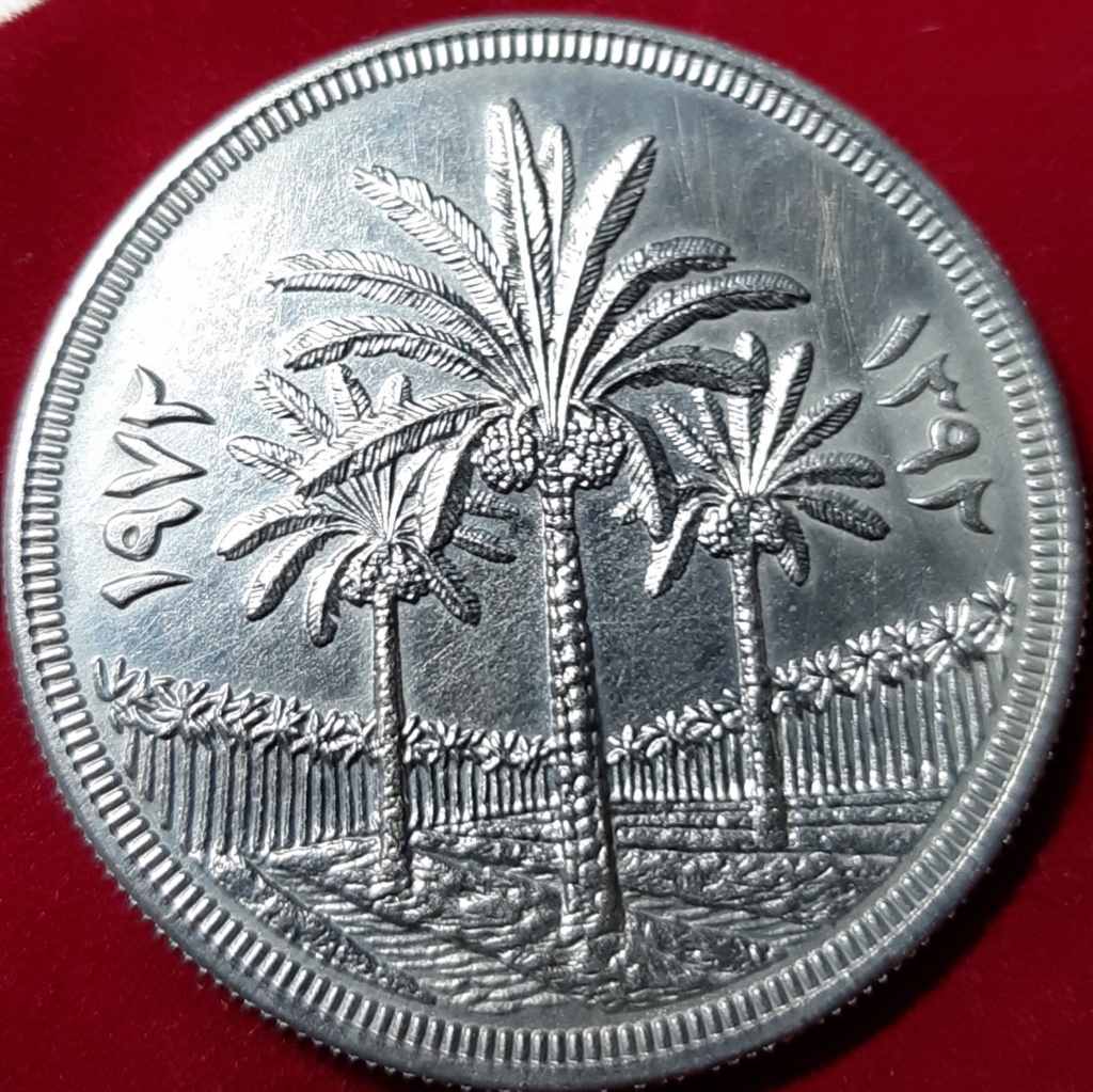 Dinar 1972. República de Iraq. 25 aniversario Banco Central. Dedicado a 10 pfennig 20191027