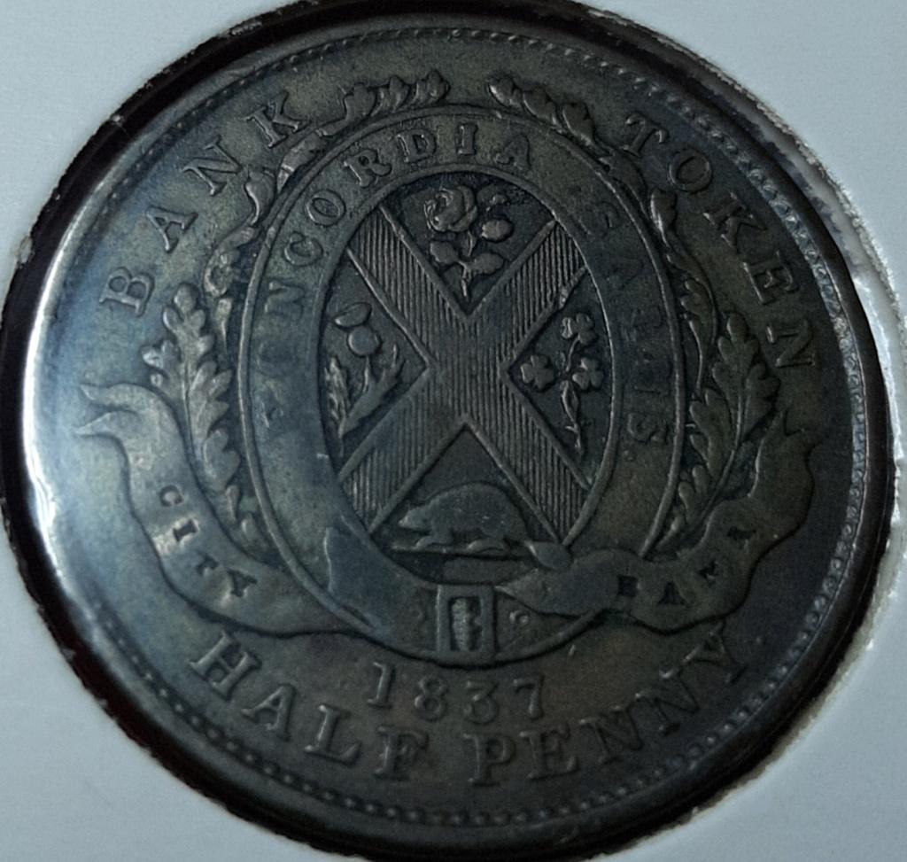 1837  HALF PENNY TOKEN - 1 SOU (QUEBEC BANK) -CANADÁ 20191047