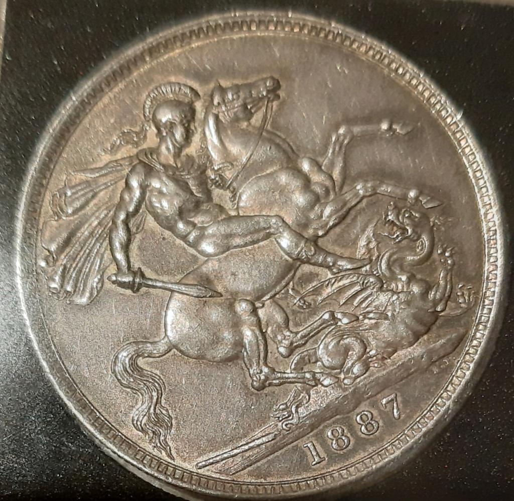 1887 silver half crown y one crown...media corona y una corona.  20201210