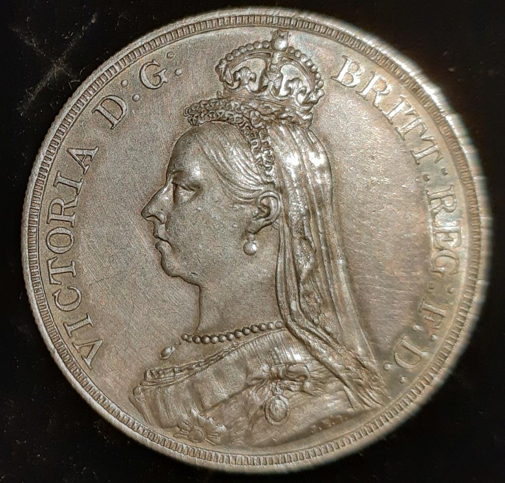 1887 silver half crown y one crown...media corona y una corona.  20201211