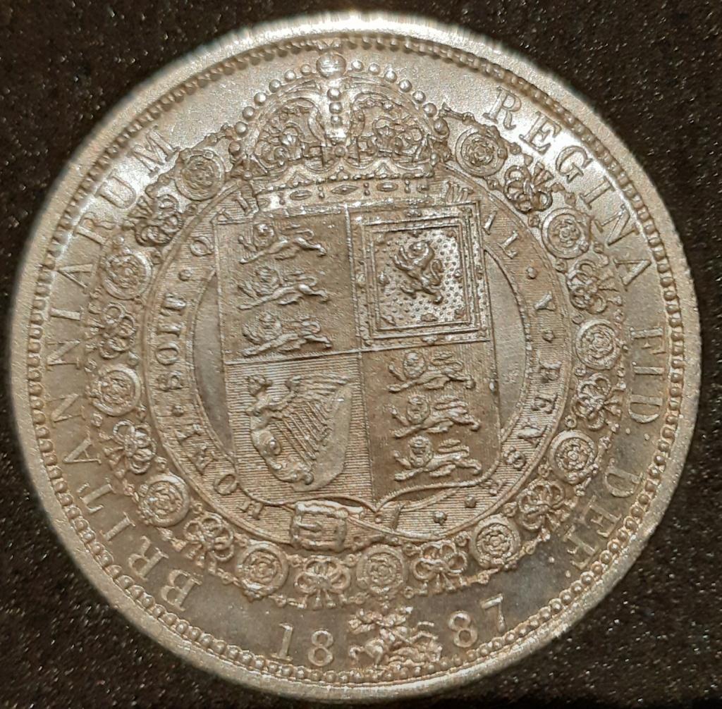 1887 silver half crown y one crown...media corona y una corona.  20210310