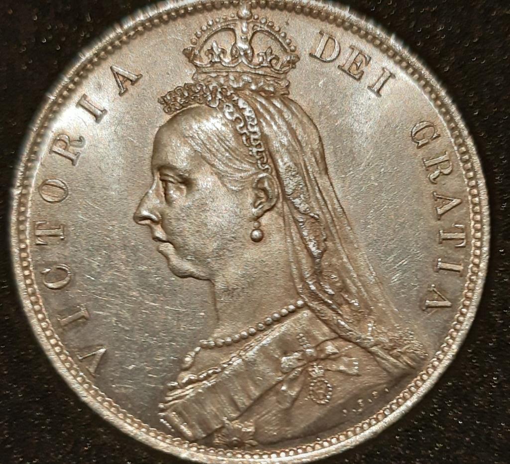 1887 silver half crown y one crown...media corona y una corona.  20210311