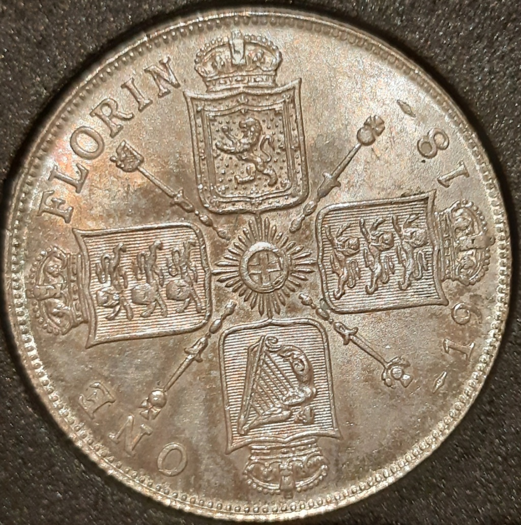 Media corona y 1 florín ingles...Jorge V. Años 1915 y 1918 respectivamente. 20210317