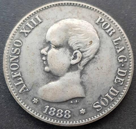 5 pesetas 1892. Alfonso XIII. Opinión Duro-f10