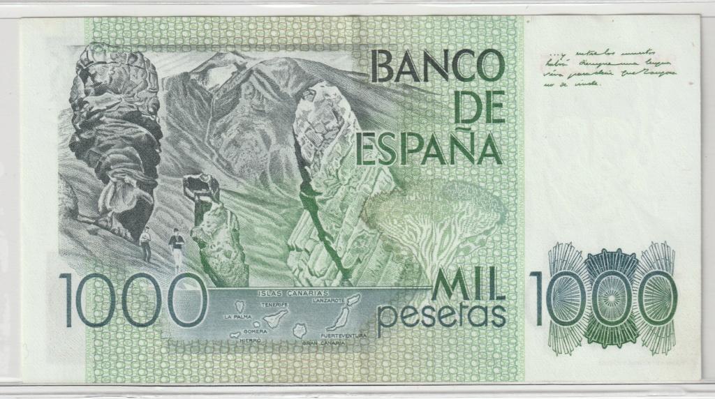 Serie complete de billetes de peseta 1979/80 1000_r10