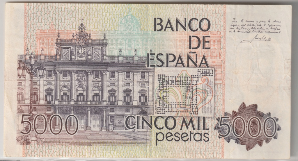 Serie complete de billetes de peseta 1979/80 5000_r10