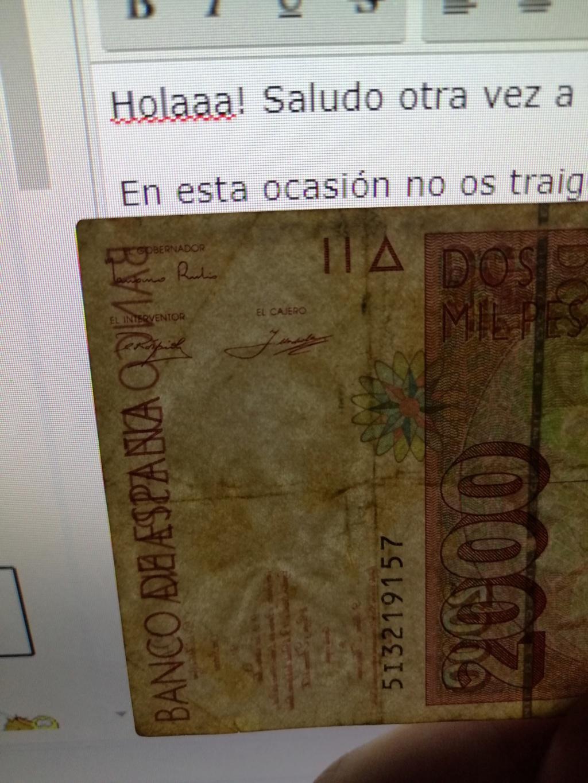 2000 pesetas del año 1992. Agua10