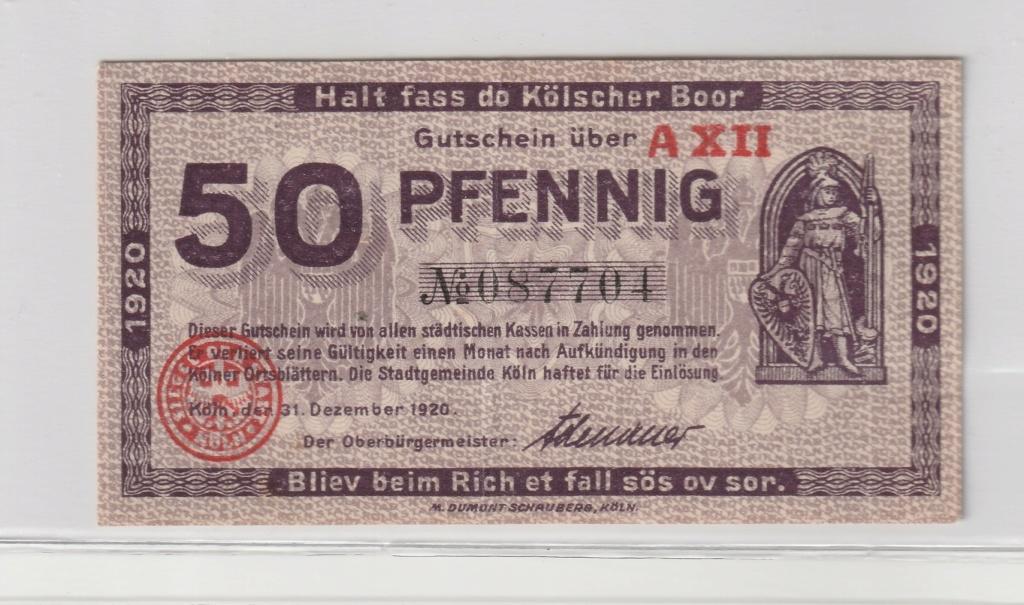 50 Pfennig de köln (Colonia), 1920 Anv17