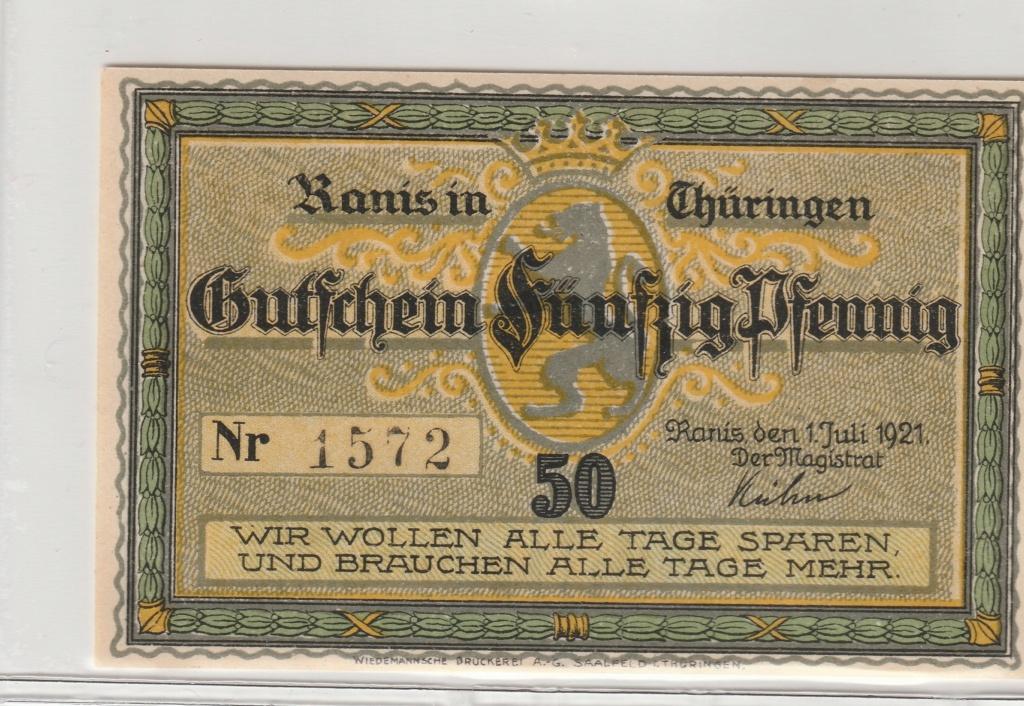 50 Pfennig de la ciudad de Ranis, 1921 Anv23