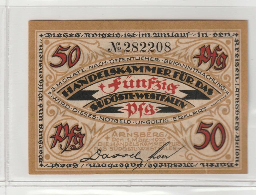 50 Pfennig de la ciudad de Arnsberg, 1920 Anv24