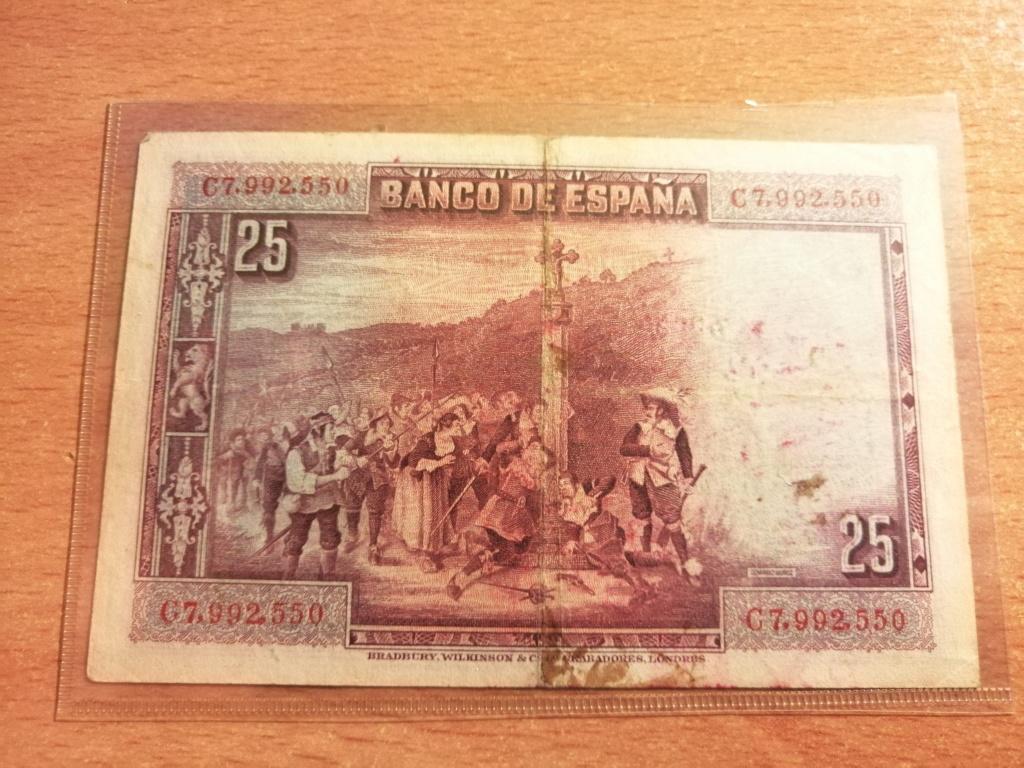 Billete de 25 Pesetas 1928 Calderón de la Barca con estampado franquista Img_2109