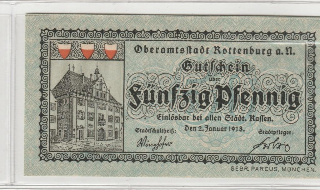 50 Pfennig de Rottenburg am Neckar, 1918 Rev15