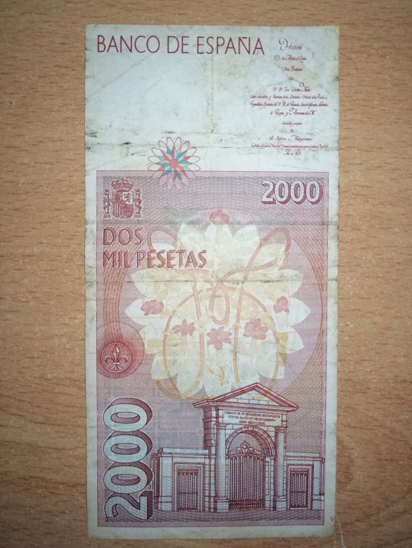 2000 pesetas del año 1992. Rev22