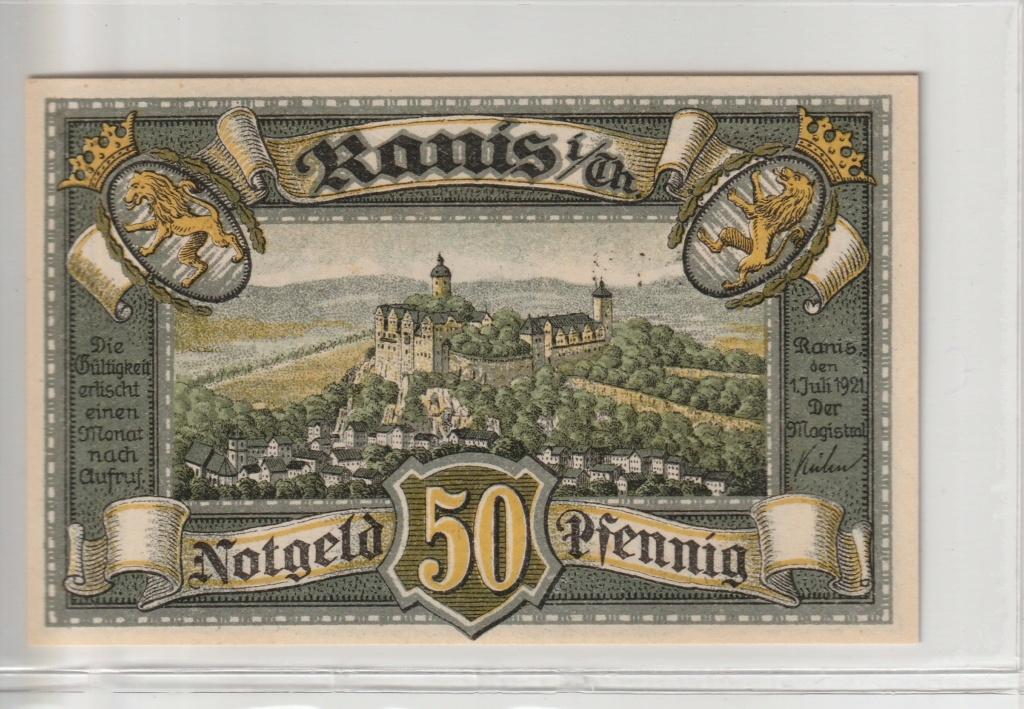 50 Pfennig de la ciudad de Ranis, 1921 Rev23