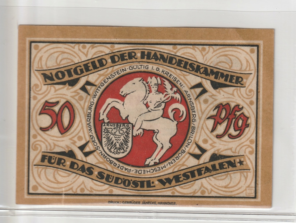 50 Pfennig de la ciudad de Arnsberg, 1920 Rev24