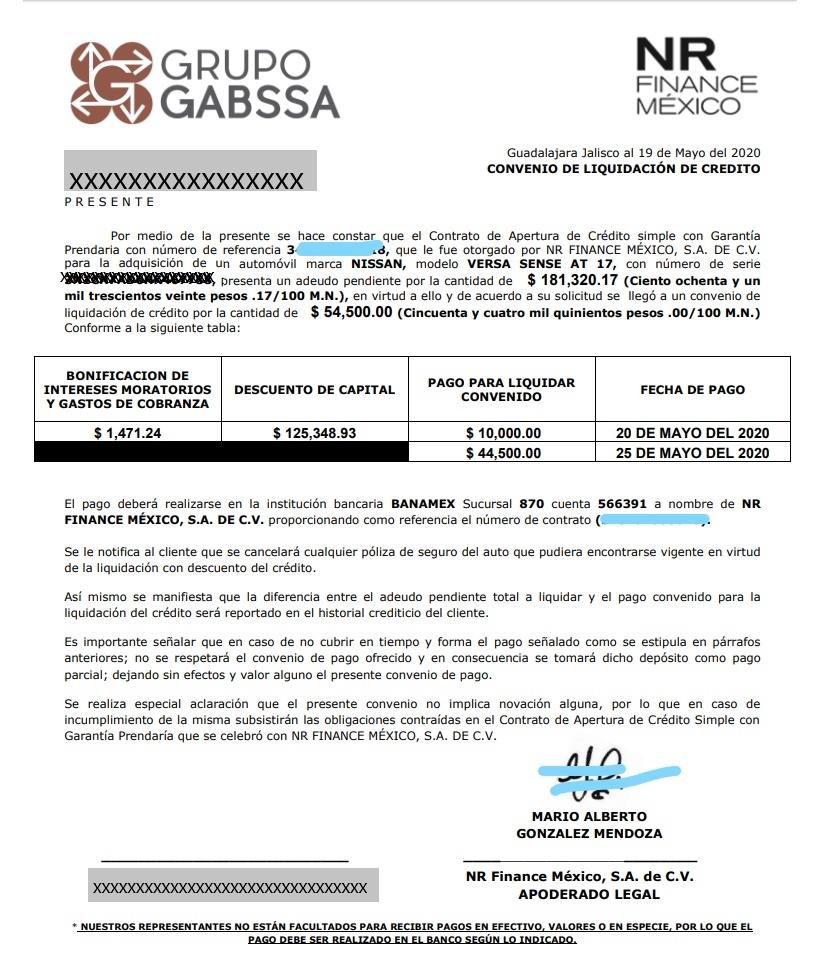 Gabssa carta convenio ofrecida para NR Finance de Crédito Automotriz Inkedc10